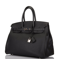 Hermes HSS SO Bi-Color Black and Bleu Tempete Togo Birkin 35cm Palladium Hardware (Preloved - Mint)