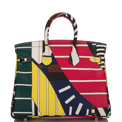 "Hermes White, Bordeaux and Rose Extreme ""One, two, three and away"" Limited Edition Swift Birkin 25cm Palladium Hardware"