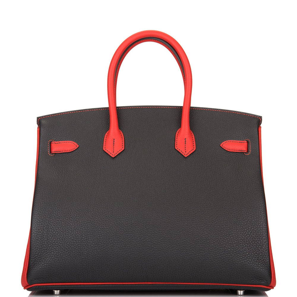 Hermes HSS Bi-Color Black and Vermillion Togo Birkin 35cm Brushed Palladium Hardware