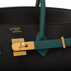 Hermes HSS SO Bi-Color Black and Malachite Togo Birkin 35cm Brushed Gold Hardware