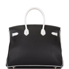 Hermes HSS Black And White Clemence Birkin 35cm Brushed Gold Hardware