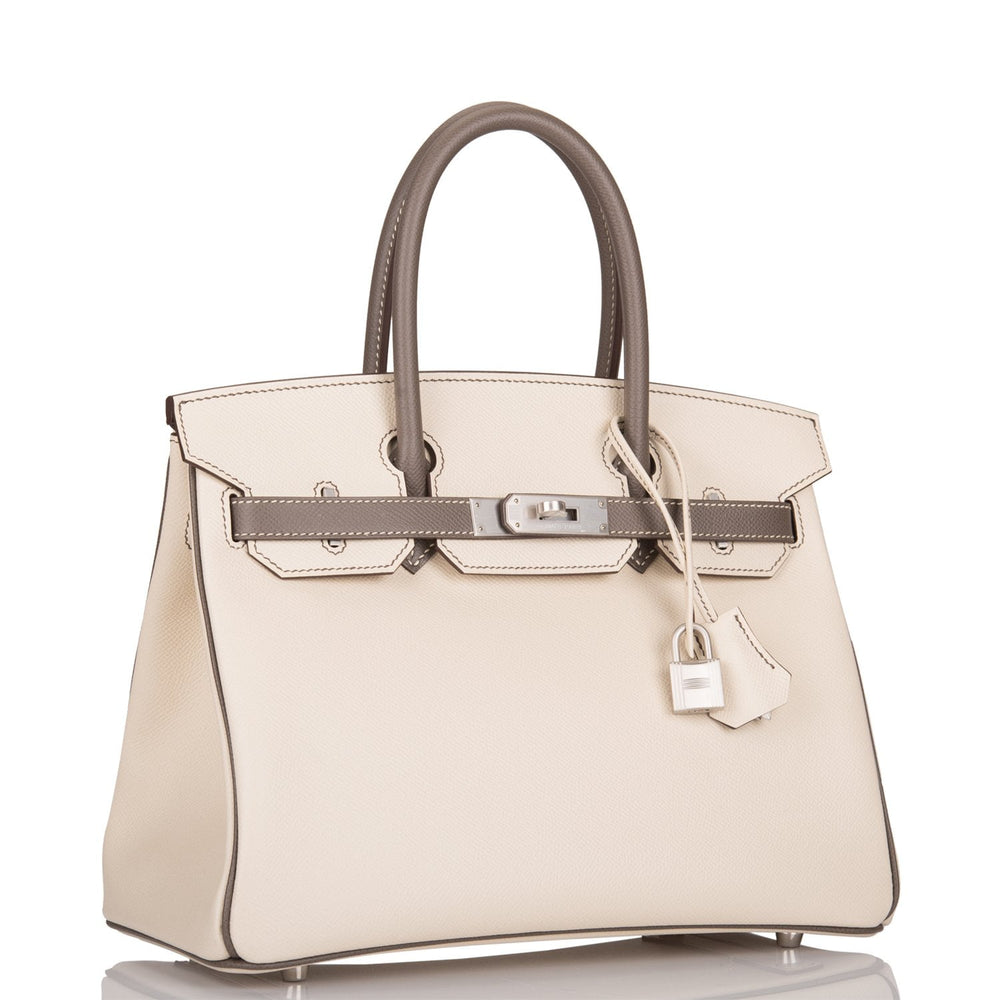 Hermes HSS Bi-Color Craie And Etain Epsom Birkin 30cm Brushed Palladium Hardware