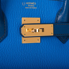 Hermes HSS Bi-Color Blue Hydra and Blue Sapphire Chevre Mysore Birkin 30cm Gold Hardware