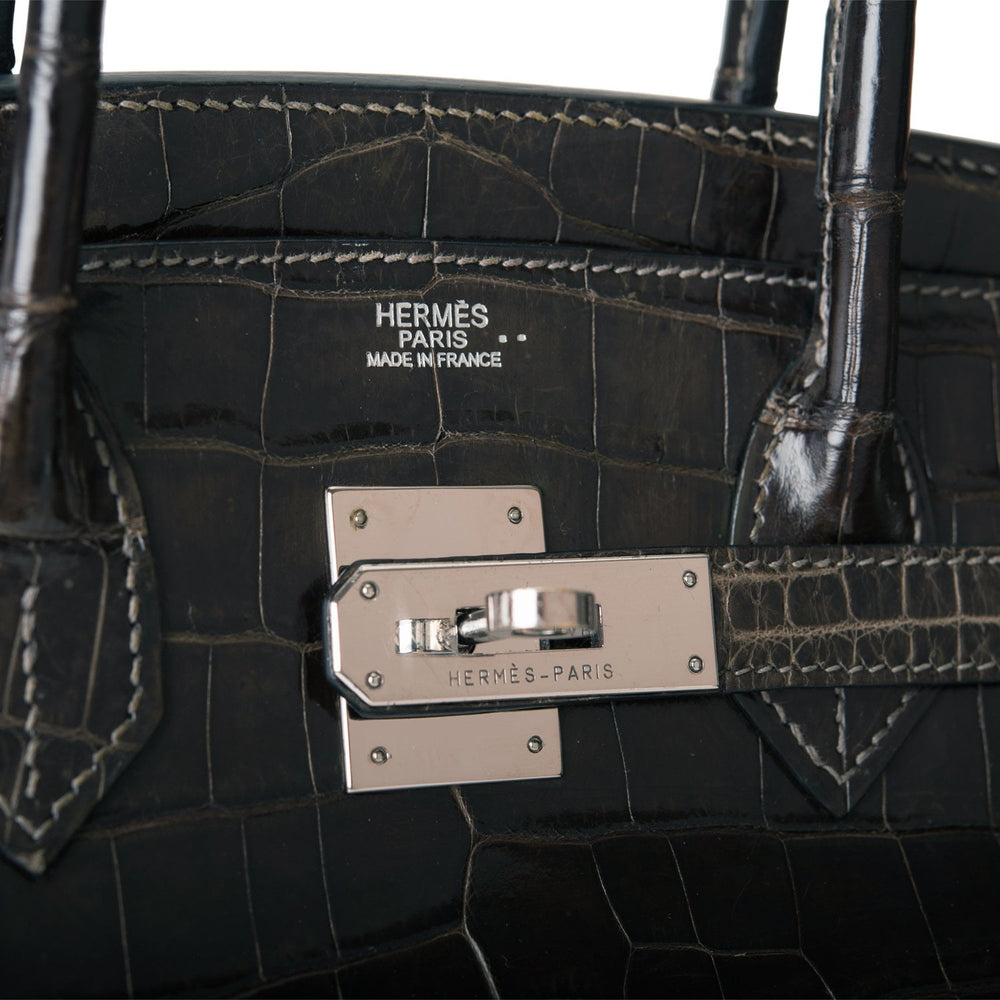Hermes Graphite Shiny Niloticus Crocodile Birkin 30cm Palladium Hardware (Preloved - Very Good)