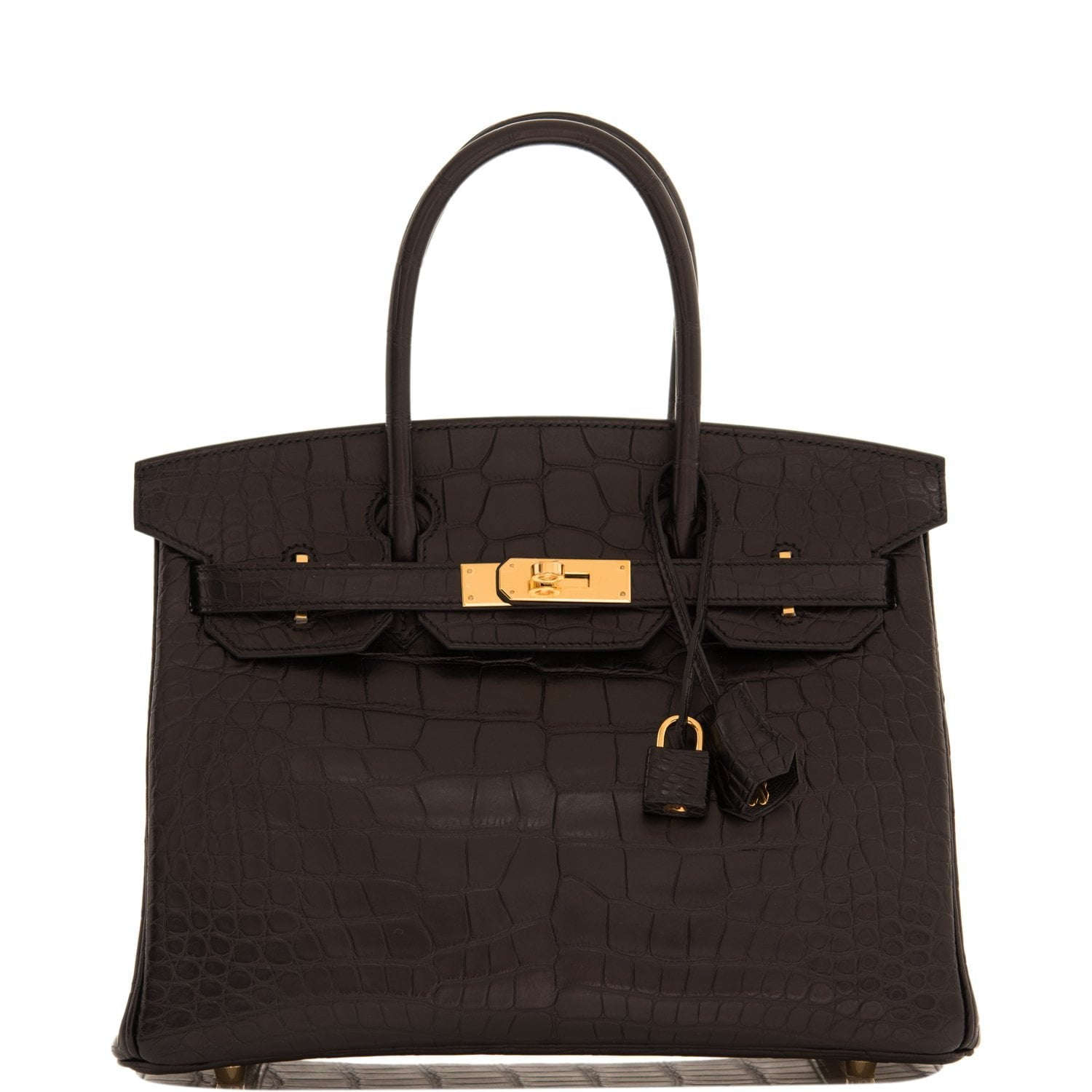 Hermes Black Matte Alligator Birkin 30cm Gold Hardware
