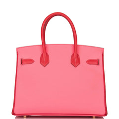 Hermes Horseshoe Stamp (HSS) Bi-Color Rose Azalee and Rouge Casaque Epsom Birkin 30cm Brushed Gold Hardware