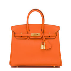 Hermes Orange H Swift Birkin 25cm Gold Hardware