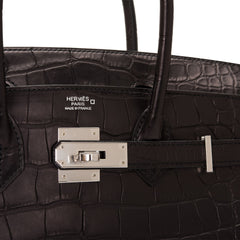 Hermes Black Matte Alligator Birkin 30cm Palladium Hardware
