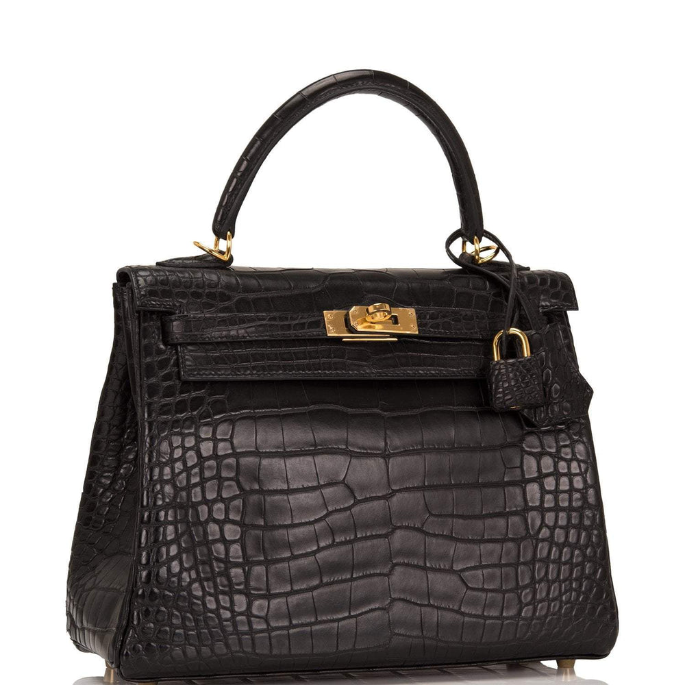 Hermes Black Matte Alligator Kelly 25cm Gold Hardware