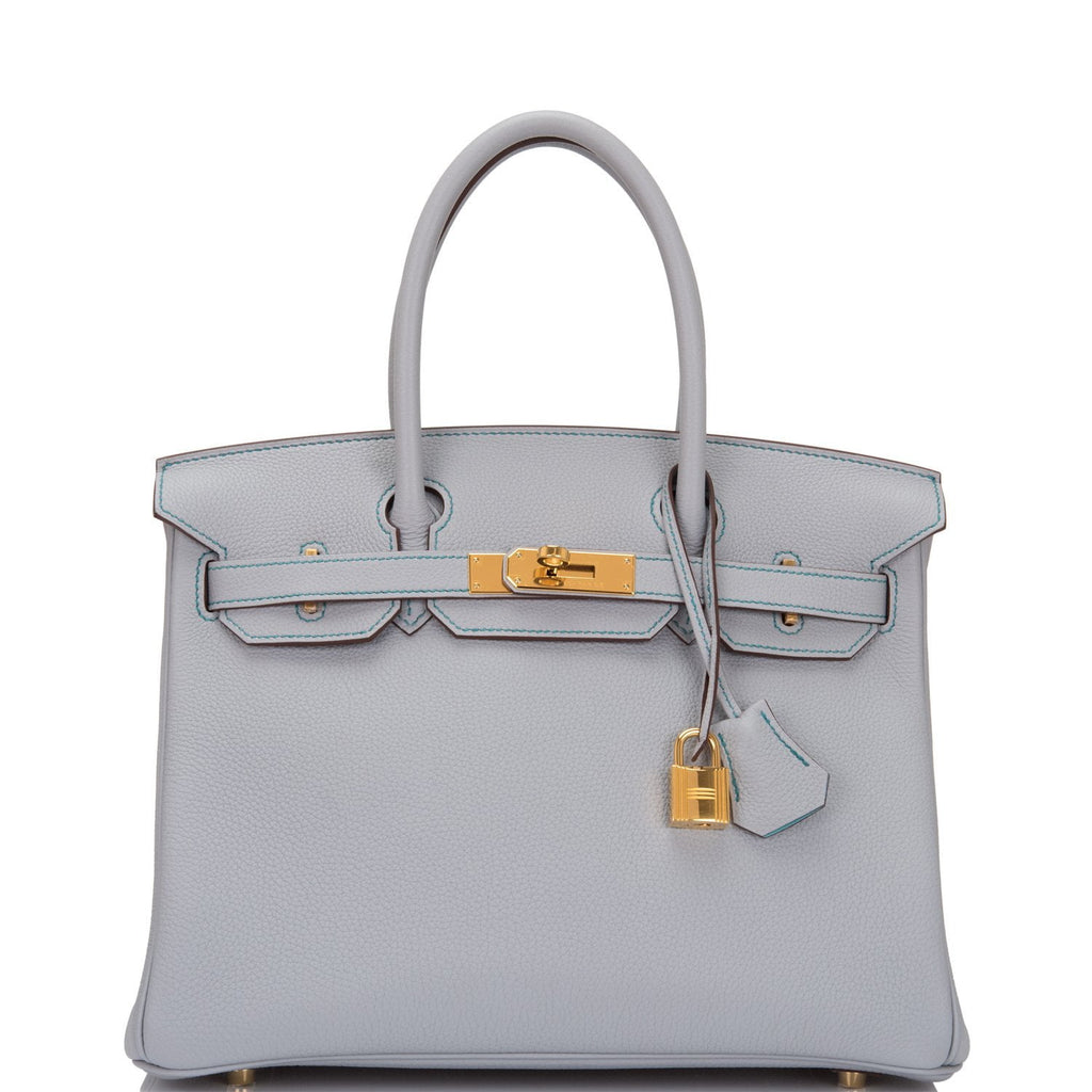 Hermes HSS Bi-Color Blue Glacier and Blue Atoll Togo Birkin 30cm Gold Hardware