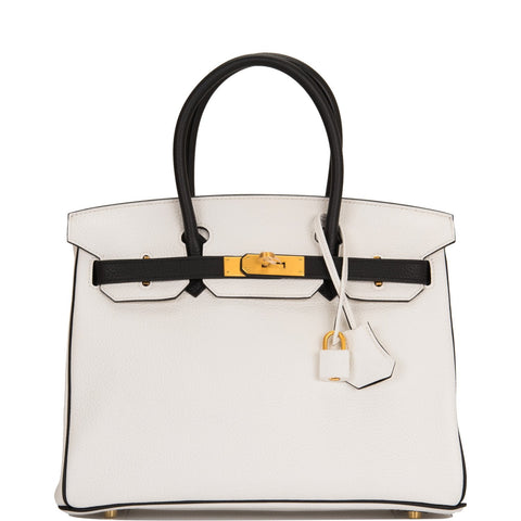 Hermes HSS Black And White Clemence Birkin 30cm Brushed Gold Hardware