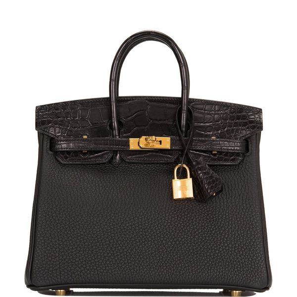 Hermes Black Matte Alligator/Togo Birkin Touch 25cm Gold Hardware