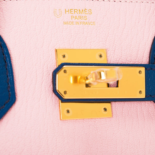 Hermes HSS Bi-Color Rose Sakura and Blue Sapphire Chevre Birkin 30cm Gold Hardware