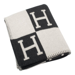 Hermes Classic Avalon Signature H Gris Fonce and Ecru Blanket