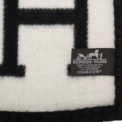 "Hermes ""Avalon III"" Ecru and Black Throw Blanket"