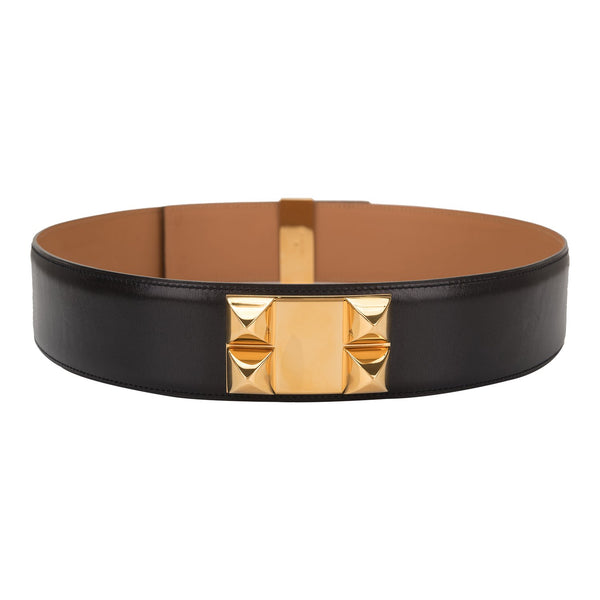 Hermes Black Calfskin Leather Wide Collier de Chien Medor Belt 82cm (Preloved - Excellent)