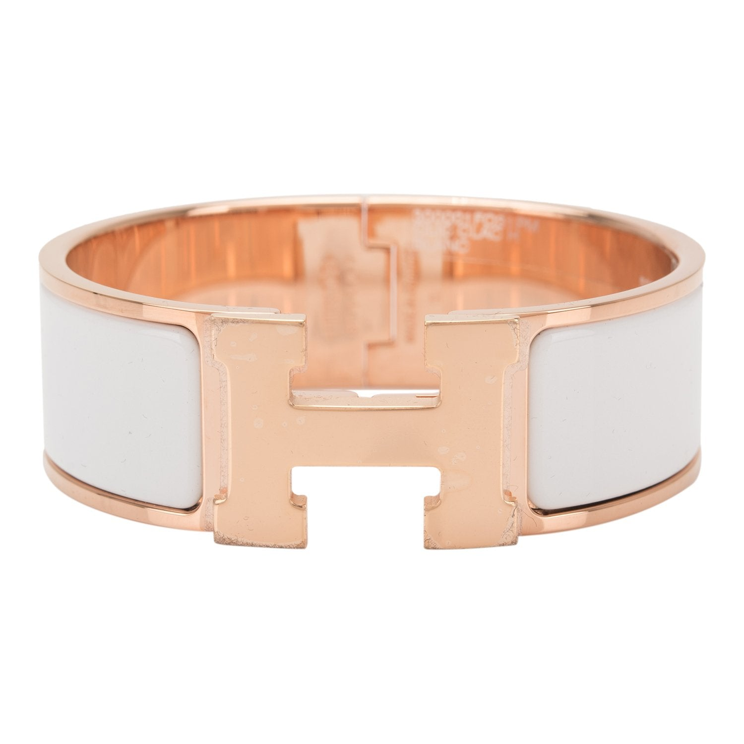 3e63be846c5 Hermes White Clic Clac H Wide Enamel Bracelet PM – Madison Avenue Couture