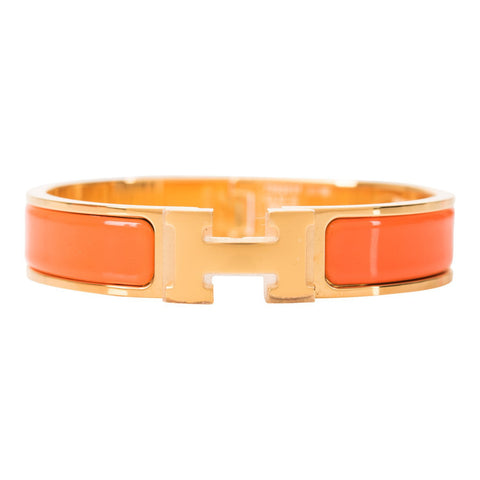 Hermes Orange Clic Clac H Narrow Enamel Bracelet PM