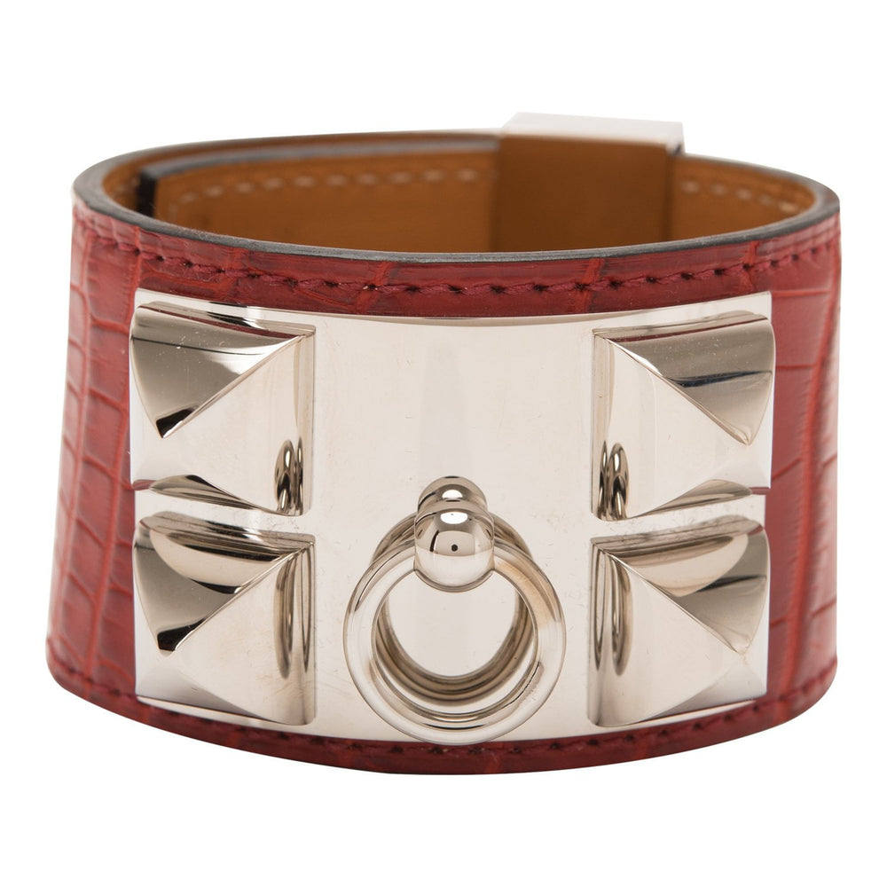 Hermes Rouge Vif Matte Alligator Collier De Chien (CDC) Bracelet Small