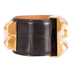 Hermes Black Matte Alligator Collier De Chien (CDC) Bracelet Small