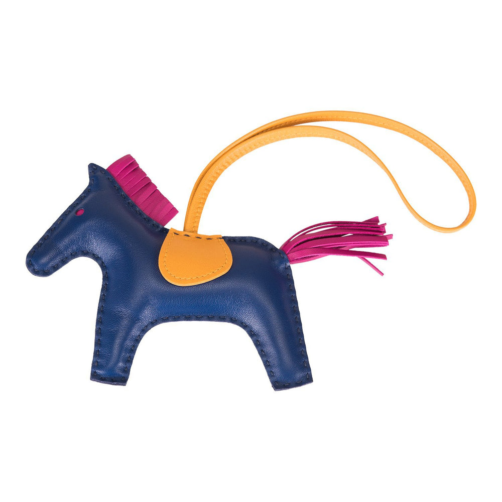 Hermes Blue Sapphire/Bouton D'or/Rose Pourpre Grigri Horse Rodeo Bag Charm MM