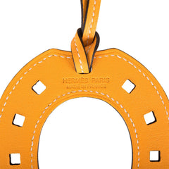Hermes Paddock Jaune D'or Horseshoe Leather Bag Charm PM