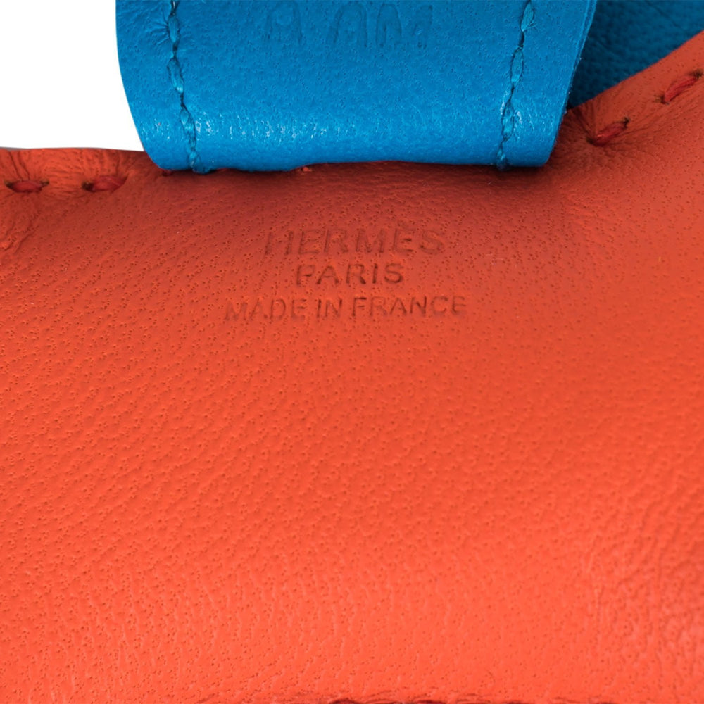 Hermes Orange Poppy/Rose Azalee/Bleu Izmir Grigri Horse Rodeo Bag Charm PM