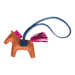 Hermes Pain D'epice/Rose Pourpre/Blue de Malte Grigri Horse Rodeo Bag Charm PM