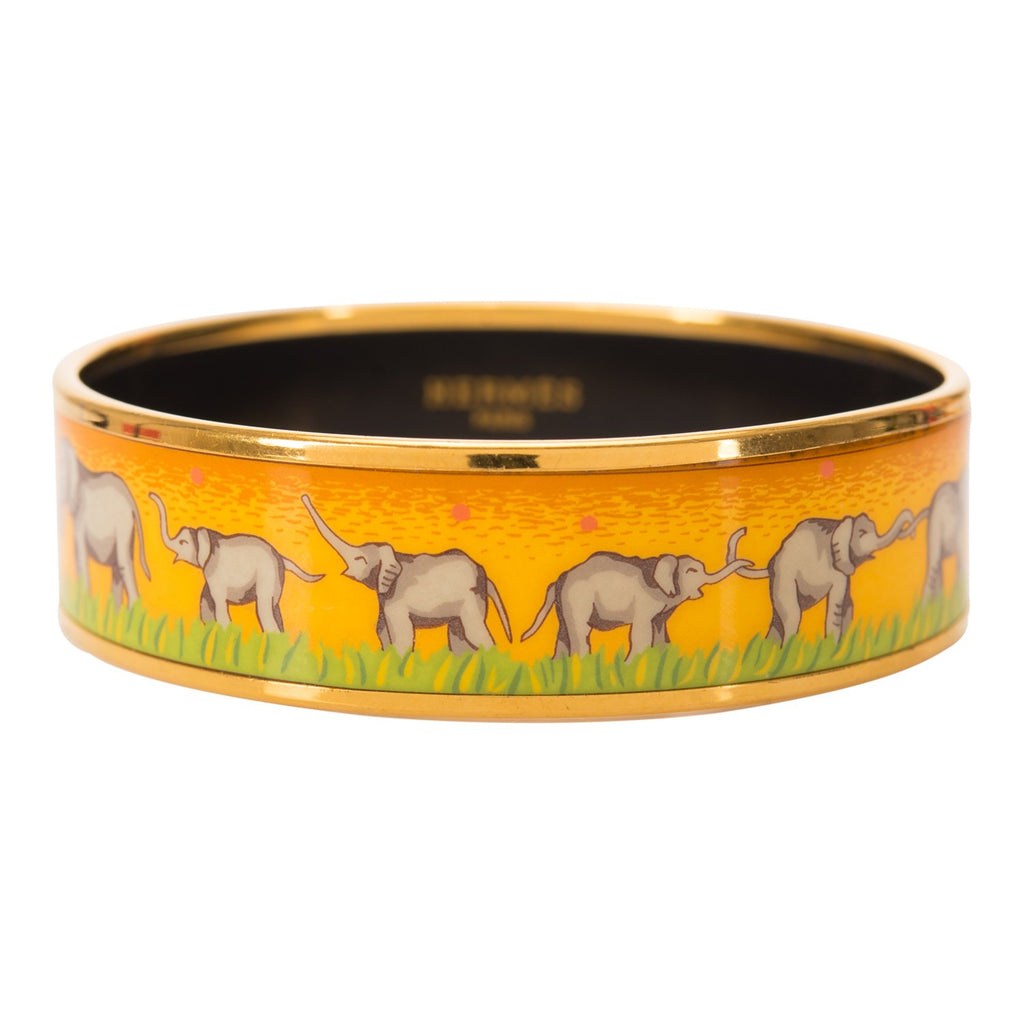 "Hermes ""Elephants Grazing"" Wide Printed Enamel Bracelet PM (65) (Preloved - Excellent)"