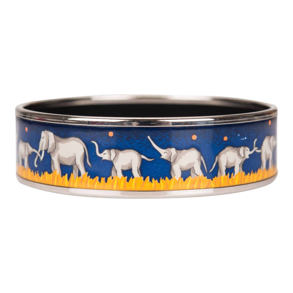 "Hermes ""Elephants Grazing"" Wide Printed Enamel Bracelet PM (65) (Preloved - Mint)"