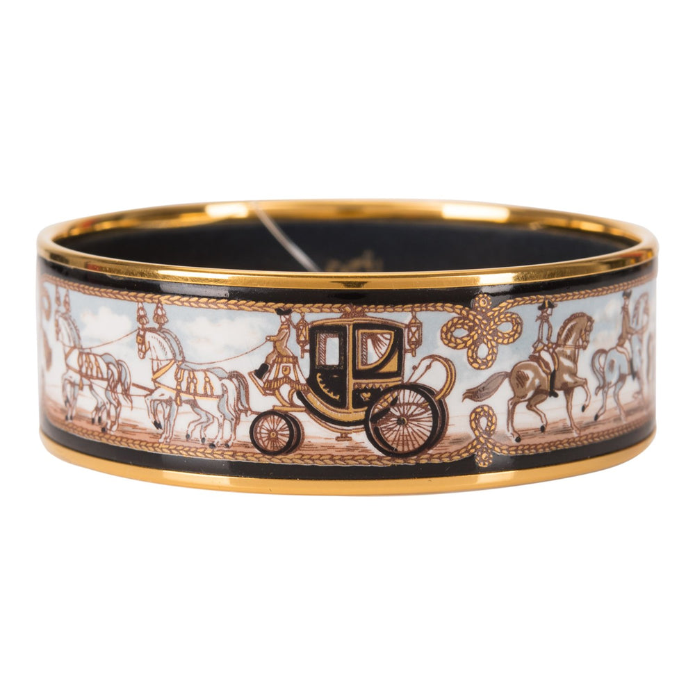 "Hermes ""Horse and Carriage"" Printed Enamel Wide Bracelet PM (65) (Preloved- Excellent)"