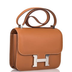 Hermes Gold Evercolor Constance 24cm Palladium Hardware