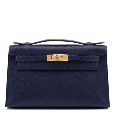 Hermes Mykonos Blue Shiny Alligator Mini Kelly Pochette