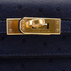 Hermes Blue Iris Ostrich Mini Kelly Pochette Gold Hardware