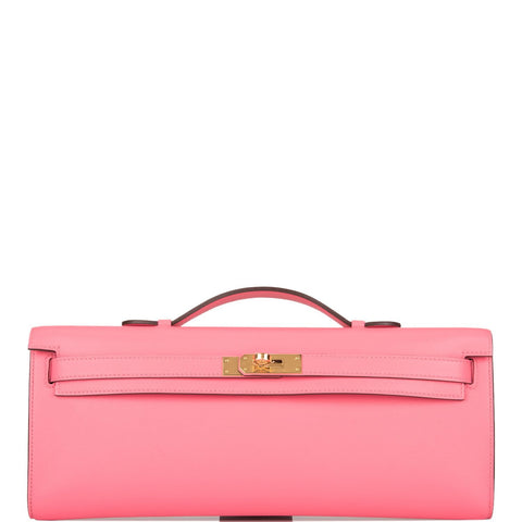 Hermes Rose Azalee Swift Kelly Cut Gold Hardware
