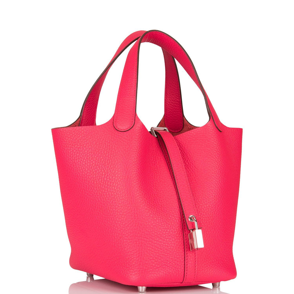 Hermes Rose Extreme Clemence Picotin Lock 18cm