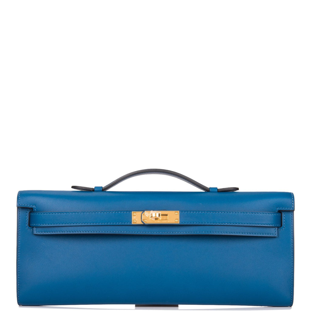 Hermes Deep Blue Swift Kelly Cut Gold Hardware