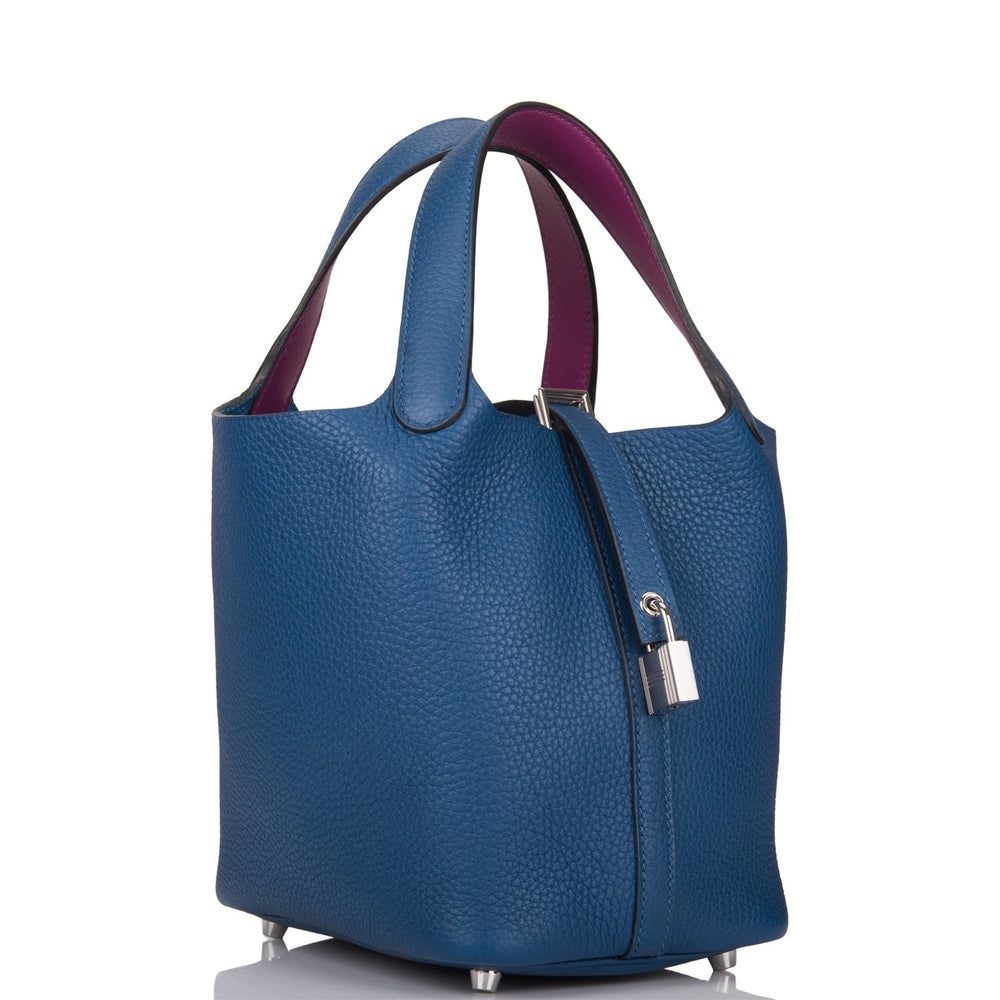 Hermes Deep Blue and Anemone Clemence Picotin Lock 18cm