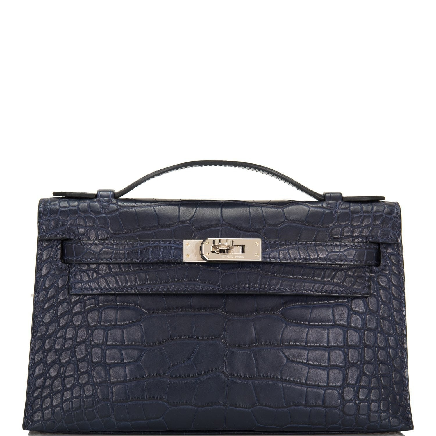 Hermes Indigo Matte Alligator Mini Kelly Pochette