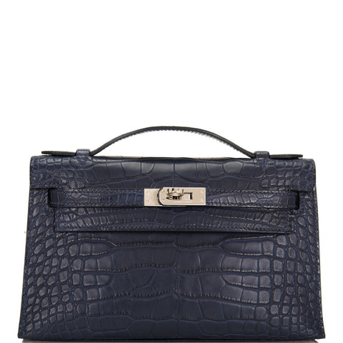 3f24a0261033 Hermes Indigo Matte Alligator Mini Kelly Pochette