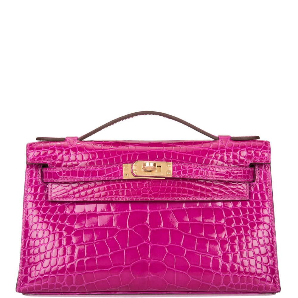 Hermes Rose Scheherazade Shiny Alligator Mini Kelly Pochette Gold Hardware