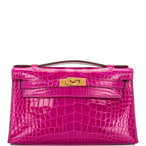f0e208050861 Hermes Rose Scheherazade Shiny Alligator Mini Kelly Pochette