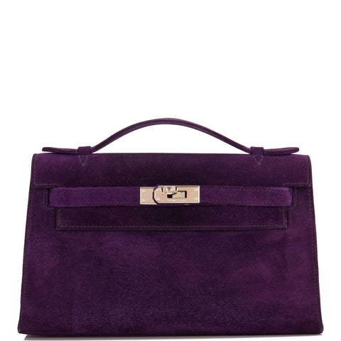 Hermes Violet Doblis Mini Kelly Pochette (Preloved - Excellent)