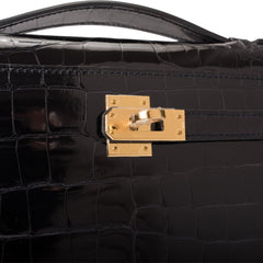 Hermes Black Shiny Alligator Mini Kelly Pochette Gold Hardware