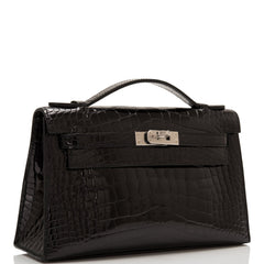 Hermes Black Shiny Alligator Mini Kelly Pochette