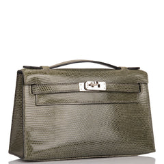 Hermes Vert De Gris Shiny Lizard Mini Kelly Pochette (Preloved - Mint)