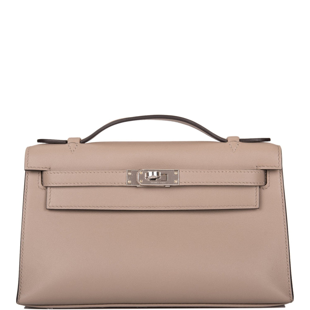 Hermes Gris Asphalte Swift Mini Kelly Pochette Palladium Hardware