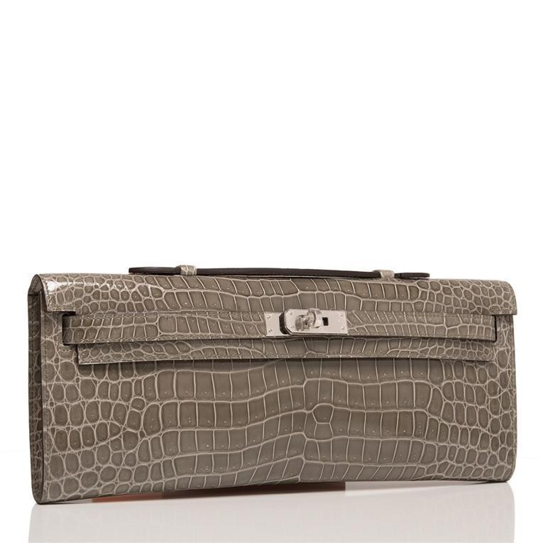 Hermes Gris Tourterelle Shiny Porosus Crocodile Kelly Cut