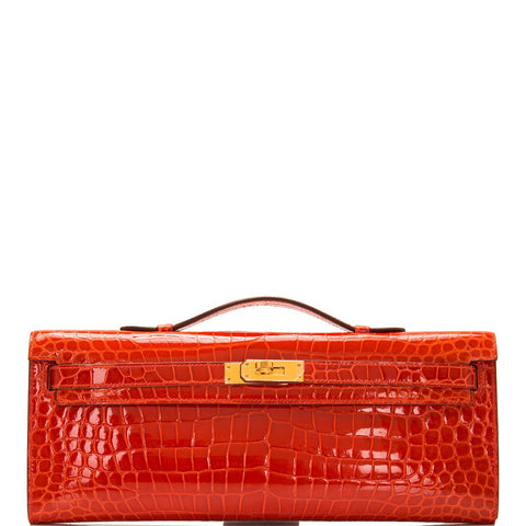 Hermes Orange Poppy Porosus Crocodile Kelly Cut
