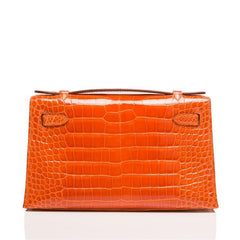 Hermes Orange H Shiny Alligator Mini Kelly Pochette